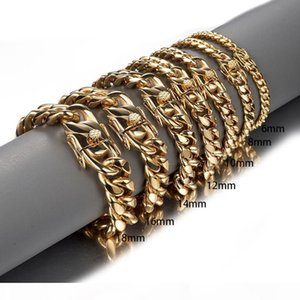 Gold Color Stainless Steel Miami Curb Cuban Link Chain Bracelet Bangle 7-11 Inches Customized Length For Men 8 10 12 14 16 18mm