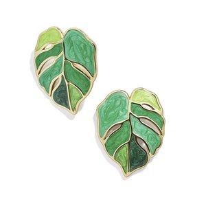 10pair Europe and America New Fashion Leaf Earrings Enamel Green Plant Earrings For Women Party Jewelry Gifts G-70