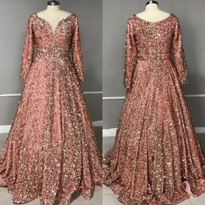 Evening Prom Celebrity Dresses 2020 Woman Party Night Muslim Ball Gown Gold Long Plus Size Dresses LJ201224