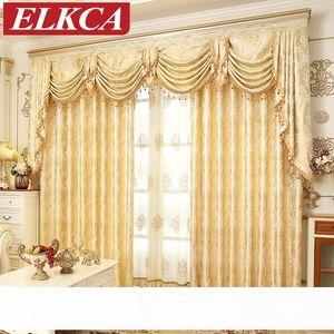 Европейский Золотой Королевский люкс Шторы для спальни окна Шторы для гостиной Элегантный Drapes европейского занавеса Home Decor Window