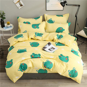 Cartoon Bedding Set Kids Room Home Decor Small Frogs Bed Linens Set Pillowcase Flat Bed Sheet Twin Queen Duvet Cover