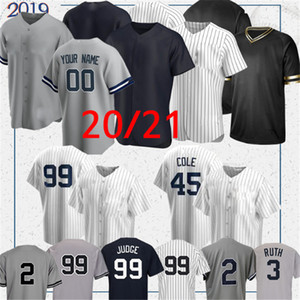 New York Yankees 99 Aaron Jersey Jersey Yankee 2 Derek Jeter 45 Gerrit Cole 2020 Jersey Custom Custom Gleysber Torres Don Matiano Babe Mariano Baseball Maillots