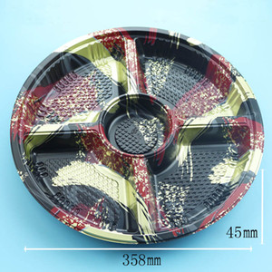 36 .5cm Large Disc Assorted Cold Dishes Disposable Round Sushi Takeout Packing Box 5 Compartments Za5321