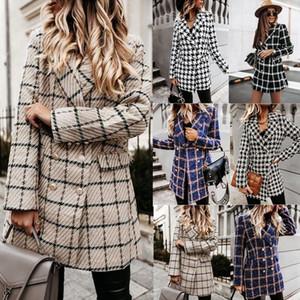 Leosoxs 2021 Autumn Winter Warm Striped Plaid Print Woolen Women's Jacket New Long Sleeve Elegant Slim Oversize Two Layers Coats