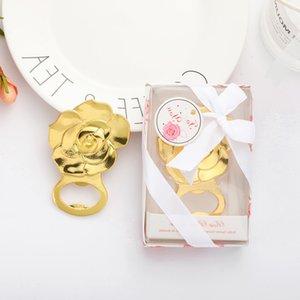 Bootle Gold Rose Flower Shape Beer Bottle Opener Wedding Favors Engagement Shower Event Keepsake Free DHL