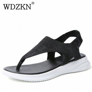 WDZKN New Women Sandals 2019 Summer Casual Shoes Flying Weaving Air Mesh Flat Sandals Women Flip Flops Slip On Ladies Ze2p#