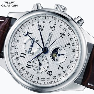 GUANQIN RELOGIO MASCULINO Автоматический сапфир механические мужские часы водонепроницаемый календарь кожаные наручные часы Отоматик Эркек Саат T200311