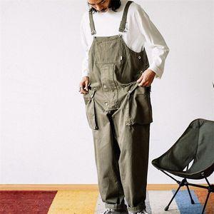 Уличная одежда Мужчины Мода Harajuku Подвесной комбинезон Свободные прямые брюки Мужчины Карманные нагрудники Мужские комбинезоны Повседневные брюки Pumpsuits 201110