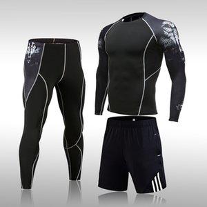 Conjunto de roupas underwear dos homens ginásio ginásio fitness compressão esportes terno roupas rodando jogging esporte desgaste exercício exercício se calças justas