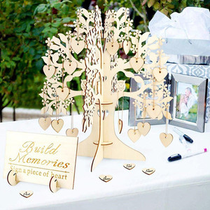 Rustic Wedding Guest Book Set Guest Visit Signature Tree Guest Book Wooden Hearts Ornaments DIY Family Tree Wedding Table Decor Y200903