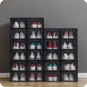 Espesano plástico cajas de zapatos claro zapato a prueba de polvo caja de almacenamiento transparente flip caramelo color apilable zapatos organizador cajas al por mayor 0269pack
