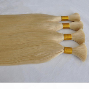 Hot sale Top Quality Bulk Human Hair No Weft 100gram Lot Straight Wave Human Hair Bulk For Braiding Buy 3Lot Get 1Pcs Free Blonde Color 613#