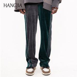 Streetwear Çizgili Kadife Sweatpants Hip Hop Colorblock Veet Parça Pantolon Erkekler Kadınlar Ayak Bileği Fermuar Gevşek Casual Ter Pantolon Adam