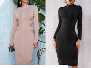 European and American high-quality stars with long-sleeved pockets hip evening dress