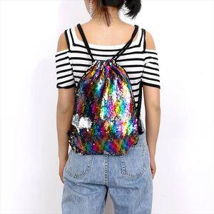 Sequin Drawstring Bag Reversible Sequin Backpack Glittering Shoulder Bags for Girls Women Travel Storage Backpacks New DSA