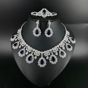 2020 new fashion luruxy blue CZ zircon necklace earring bracelet ring jewelry set wedding bride banquet dressing jewelry set