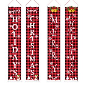 Christmas decorations red and black lattice door curtain flag door hanging party Christmas atmosphere decorate Christmas curtain T3I51345