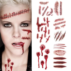 6pcs Bloody Wound Stickers Trick Scary Waterproof Temporary DIY Fake Tattoo Halloween Party Decoration