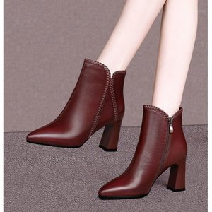 2021 Autumn Winter Ankle Boots Woman Short Boots Pointed toe Women Fall Shoes Booties Pointed toe Squre Heel Footware Brown1