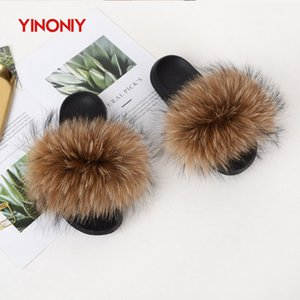 YINONIY Fur Slippers Women Real Natural Fox Fur Sandals Female Fashion Fluffy Fur Slides Womens Furry Slippers Brand New 2020 X1020
