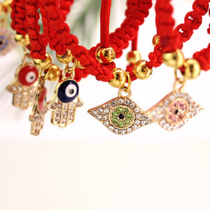 Augenpalme Charme Armband gewebt Rotes Seil Schmuckkette Frauen Überzogene Goldperlen Armbänder Mode 2 25ZN G2B