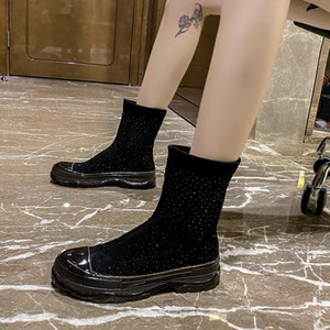 COOTELILI Leather Women Boots Fall Winter Warm Short Ankle Boots Platform Flats Shoes Slip On 5cm Heel Non-Slip Plus Size 40