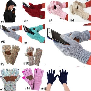Cc Gestrickte Winter Handschuhe Fest Farbe Unisex Touch Screen Wolle Handschuhe Winter Cc Knitting Touch-Screen-Smartphone Touch-Five Fingers Handschuhe