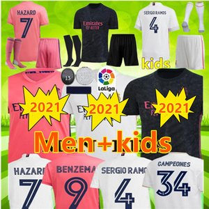 REAL MADRID soccer jersey 20 21 HAZARD SERGIO RAMOS BENZEMA VINICIUS 2020 2021 camiseta football shirt uniforms men + kids kit jersey