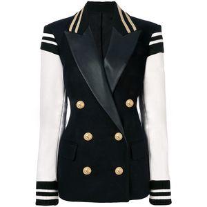 HIGH STREET New Fashion Stylish Blazer Varsity Jacket Women's Leather Sleeve Patchwork Lion Buttons Blazer 201110