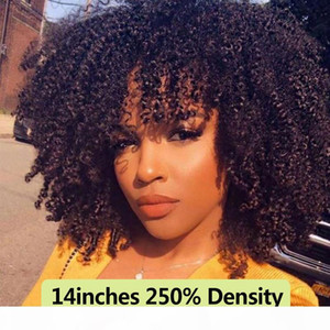250 Density Afro Kinky Curly Lace Front Human Hair Wigs with Bangs Short Bob Lace Frontal Wig for Women Full 4B 4C Black