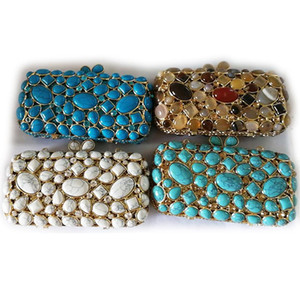 XIYUAN Fashion Blue Green White 4 Colors Rhinestone Evening Clutch Party Women Bags Luxury Lady Golden Metal Purses And Handbags