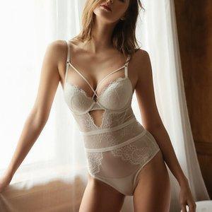 Пустоты без спинки сексуальные кружева Teddies бельё с кухонной повязкой Push Up Brar underwire сетка прозрачный боди женщины Bustiers x0123