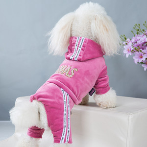 Pet Clothes French Bulldog Autumn Winter Golden Velvet Four-Leg Sportswear Teddy Small And Medium Puppies Hoodie Jumpsuit