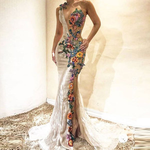 One Shoulder 3D Flowers Appliques Prom Dress Sheer Neck Mermaid Evening Gowns Sexy Party Vestidos Dubai Arabic robe de soirée