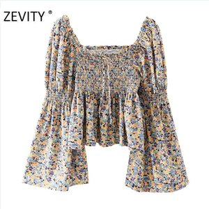 Zevity New Women Donne Vintage Sqaure Collar Butterfly Sleeve Stampa Slim Smock Blusa Camicetta Donne Elastico Femininas Blusas Tops LS7211