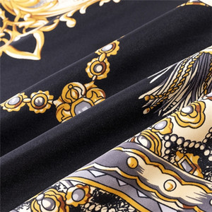 POBING 100% Silk Женщины Большие шали палантины цепного Square Бандана Luxury Kerchief хиджаб шарф Женский Foulards 130см 201023
