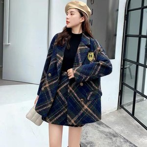 Autumn Fashion Two-piece Suits Thick Plaid Tweed Female Coat A-line Skirt Two 2 Piece Set Women Suit Basic Jackets Uniform