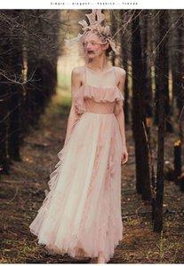 Fairy Pink Country Wedding Dresses A Line Spaghetti Straps Ruffles Long Boho Beach Bridal Gowns Bohemia Illusion Sexy Wedding Dress
