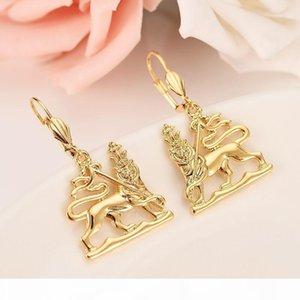 K äthiopische König der Löwen-Schmuck-Set reales Gold Gf Halskette Ohrringe Anhänger Habesha Afrika Hochzeit Brautschmuck Sets Geschenke