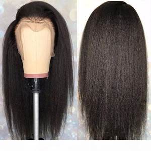 Italian Yaki Straight Lace Front Wigs Human Hair Full Lace Wigs Kinky Straight 360 Frontal Lace Wigs For Black Women With Baby Hair