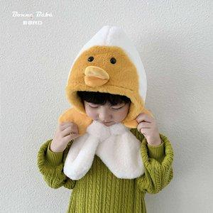 Один детский шарф Южной Кореи Один теплый плюшевый мальчики и девочки защитная крышка утки детская зимняя шляпа