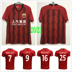 2020 2021 Shanghai SIPG Futebol HULK Akhmedov Arnautovic LOPES OSCAR personalizada 20 21 Shanghai Shanggang Início Red Football Shirt Uniforme