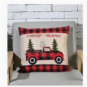 Decoraciones de Navidad fundas de almohada Buffalo Plaid Throw Pillow caso de camiones de Navidad Árbol rojo Cojín JK2010PH