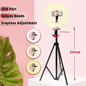 "LED Ring Light 10 ""Dimmable Tripé Telefone Câmera Foto Selfie Light Light Stand Photography Anel para Beleza de Temporizador1"