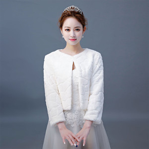 Hot Sale Fur Boleros Wedding Wraps Women Winter 3 4 Length Sleeves Bridal Fur Jacket Warm Fur Bridal Jacket Elegant Evening Coat