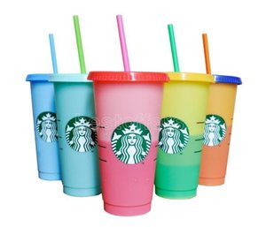 24OZ Color Mix Tumblers Plastic Drinking Juice Cup With Lip And Straw Magic Coffee Mug Costom Starbucks color changing plastic cup fy4460