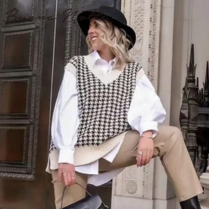 2020 femmes Houndstooth Sweater Vest Casual col en V manches Automne Hiver Pull en maille coréenne style pull loose Tops