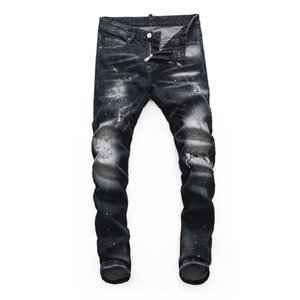Italian Vintage Fashion Men Jeans High Quality Slim Fit Elastic Ripped Jeans Homme Painted Designer Streetwear Punk Denim Pants