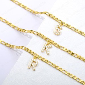 High Quality Yellow Gold Plated Stainless Steel CZ Cubic A-Z Letter Anklets Chains for Girls Women for Wedding Party Nice Gift