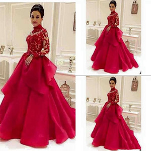 2021 Aline Long Sleeve Evening Dresses High Neck Appliqued Lace Puffy Peplum Cheap Prom Gowns Long Formal Pageant Dress